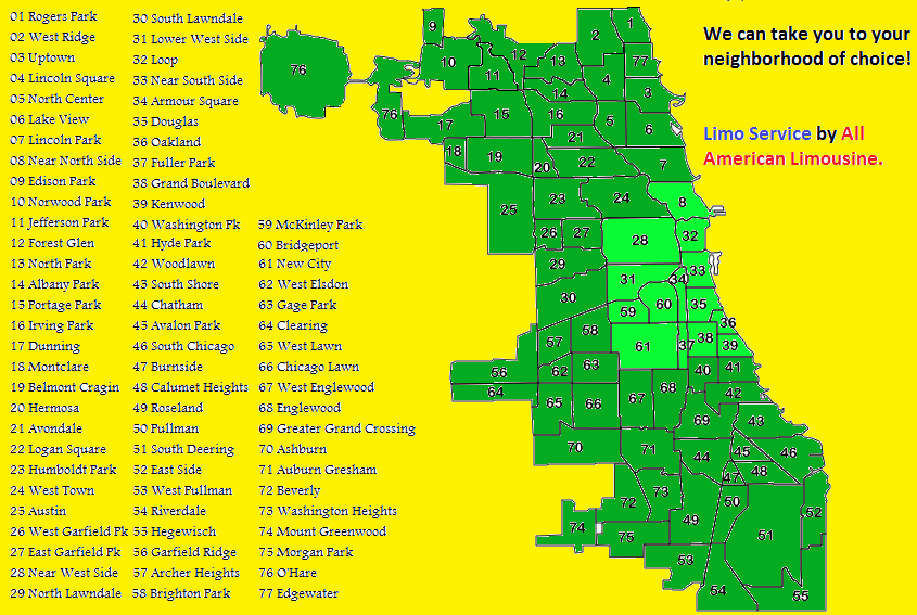 Limo Service, Chicago Neighborhoods, Map, Lincoln Park, Wicker Park, Uptown, Limo, Limousine, All American Limousine
