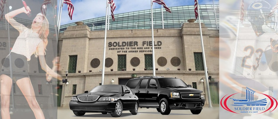 Soldier Field Limo, Limo to Downtown Chicago, Chicago Bears Limo, Chicago Football Limo, Concerts Soldier Field Transportation, Shuttle Bus Soldier Field