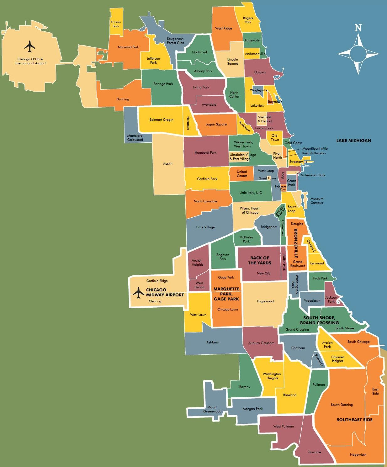 Chicago neighborhood map, Limo Service to Chicago Neighborhoods, The Loop, Gold Coast, Streeterville, Wicker Park, Lincoln Park, Old Town, River North, Lakeview